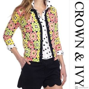 Crown & Ivy Cardigan 3/4 Sleeve Floral Button Up